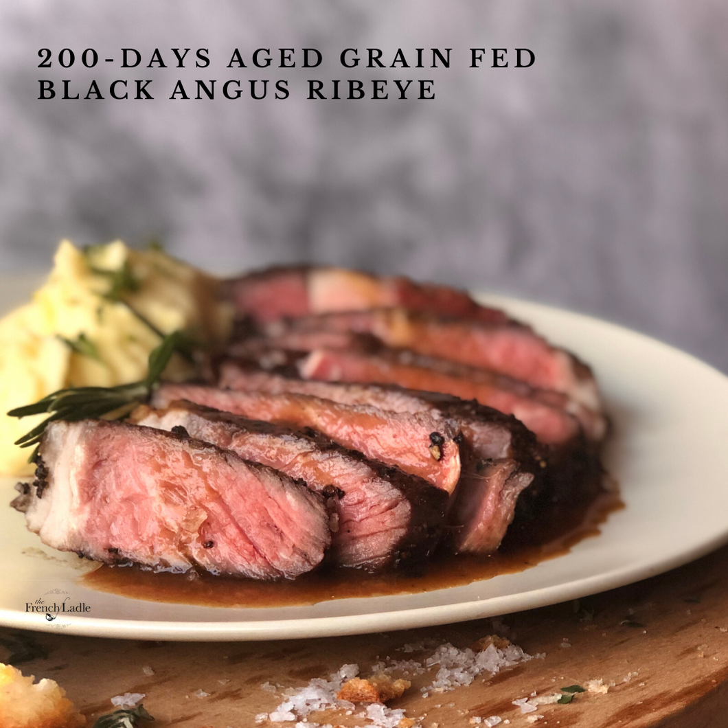 200-day Aged Grain Fed Black Angus Ribeye with Red Wine Sauce