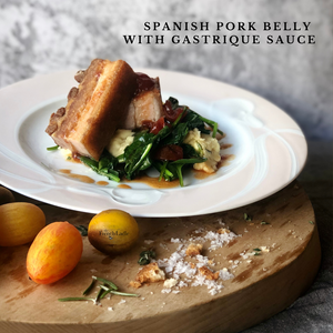 Spanish Pork Belly Confit with Gastrique Sauce