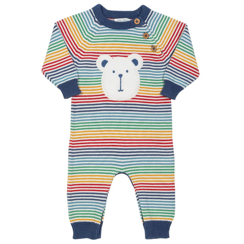 Rainbow knit romper