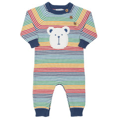 Baby in rainbow knit romper