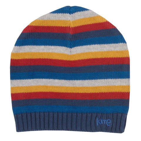 Stripy blue beanie hat