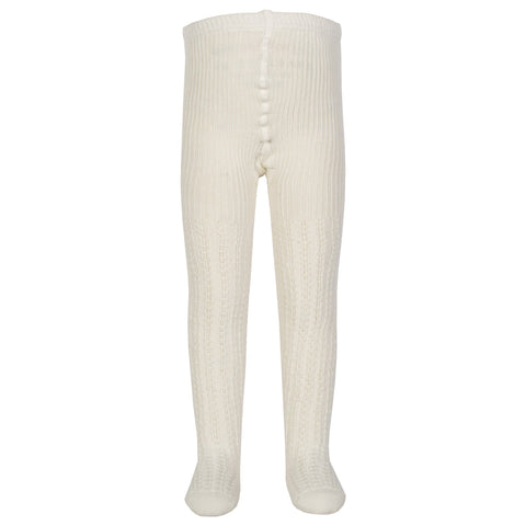 Cable rib cream tights