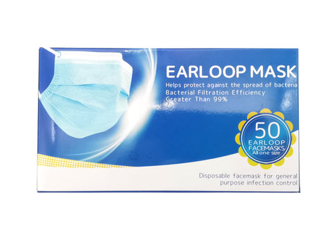 Three-Ply Earloop Face Mask 三层一次性防护口罩—50pcs