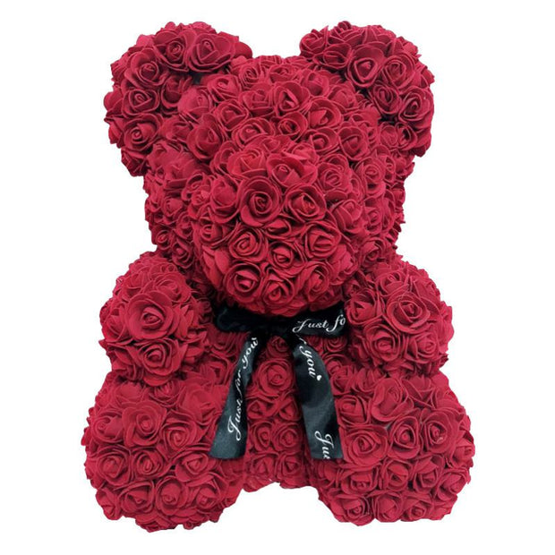 40cm Big Red Bear Rose Flower Artificial Decoration Heart Gifts for Women Christmas Valentines Gift