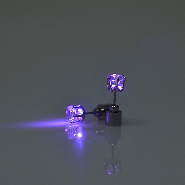 Light Up LED Earrings Hot Christmas Studs Flashing Blinking Stainless Steel Earrings Studs Dance Party Accessories Supplies Gift
