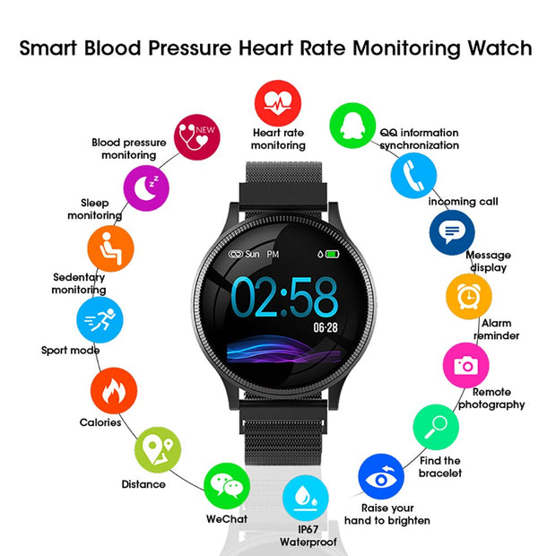 Sports Health Smart Watch 1.22 inch Magnetic Strap Fitness Tracker IP67 Waterproof Heart Rate Monitor Smartwatch for IOS Android