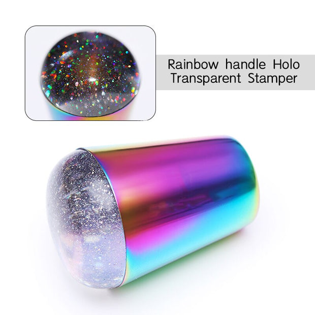 Handle Holographic Transparent Nail Stamper for Stamping Plate Holo Clear Jelly Silicone Stamper Head Nail Art Templates Tool
