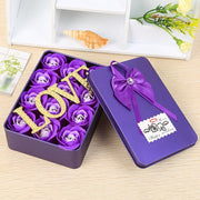 aaaa Valentines Day Artificial Flowers Perfume Roses Flower+ Iron Storage Box Gift For Anniversary Gifts For Wedding Decoration 12pcs
