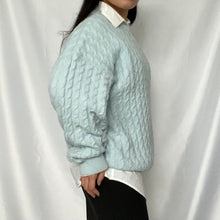 Load image into Gallery viewer, Find Second Hand Chunky Pullovers at Thrifted-Vintage.com. Woman stands here with baby blue pullover.