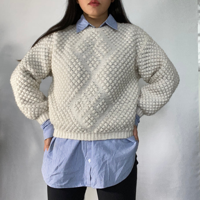 Thrifted Vintage Handmade Knitted Wool Jumper Ultra Warm and Soft