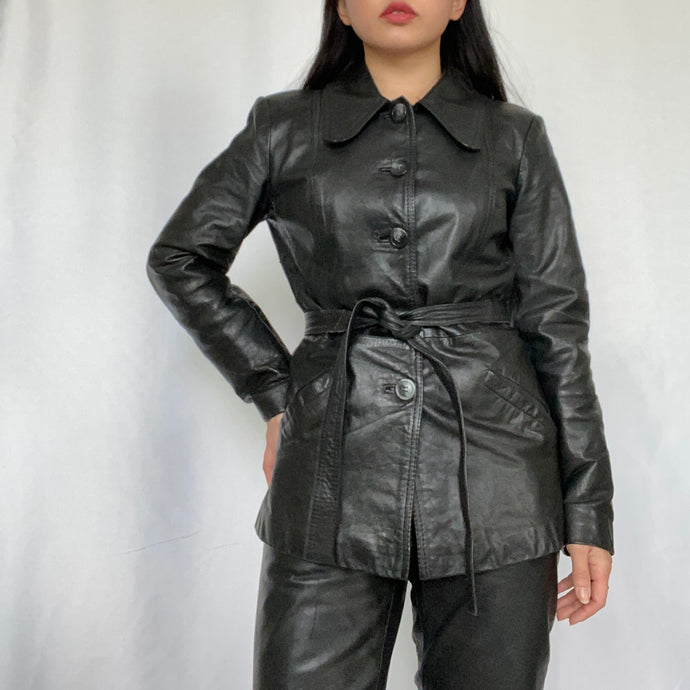 Thrifted Vintage Second Hand Belted Leather Jacket.