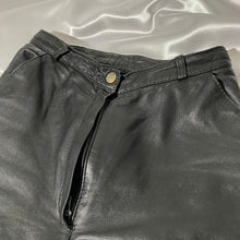 Load image into Gallery viewer, Vintage Leather Flare Pants Soft Leather, button detail