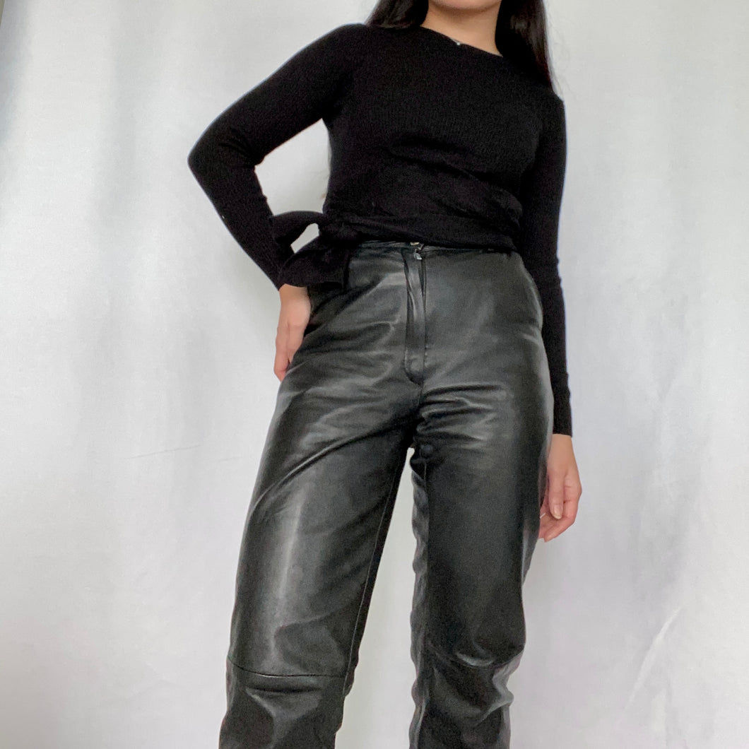 Thrifted Vintage - Vintage Leather Flare Pants High Waist Carrot Legs
