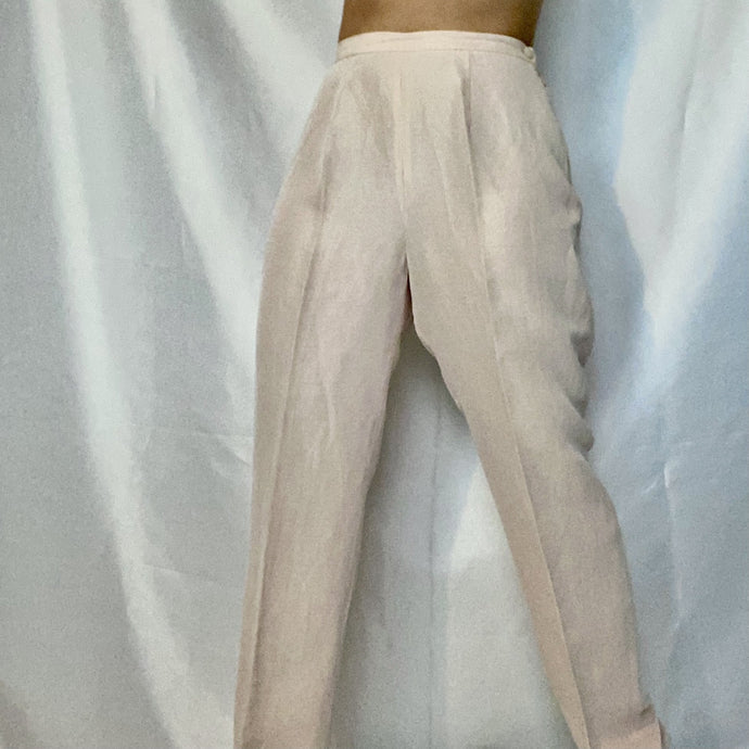 This is a second-hand Max Mara trouser, pastel pink silk blend. Available on Thrifted-Vintage.com