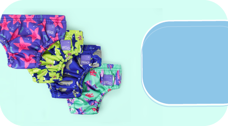 Baby swimwear category box showing reusable swim diapers