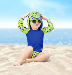 Baby wearing electric ocean baby swimwear collection