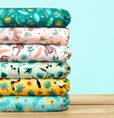 Bambino Mio rainforest designs in a diaper stack
