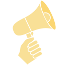 Yellow megaphone campaigning icon