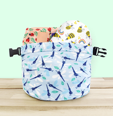 Nappy wet bag with two diapers poking out the top