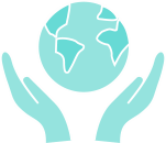 Teal planet icon with hands
