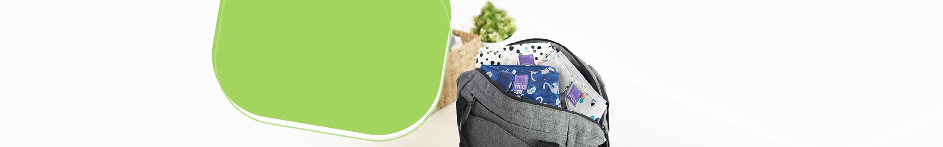 Why choose us page banner showing diaper bag with diapers in