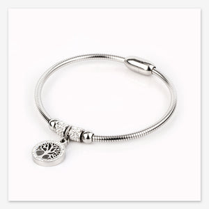 Classic Tree of Life Charm Bangle Bracelets Simple Rose Gold