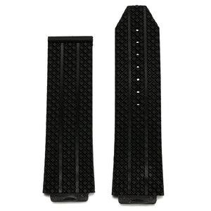 24mm Replacement Black Silicone Rubber Watch Band Strap