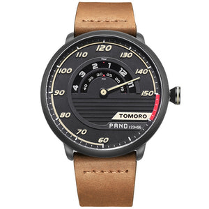 TOMORO Men's Unique Automotive-inspired Design Cow Leather Strap Fashion Sports Male Quartz Watch