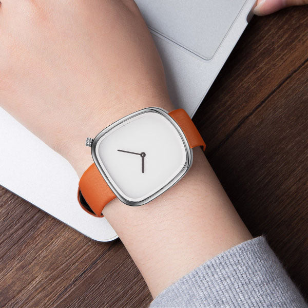 SINOBI 9705 Luxury Simple Design Leather Strap Fashion Men Women Quartz Wrist Watch