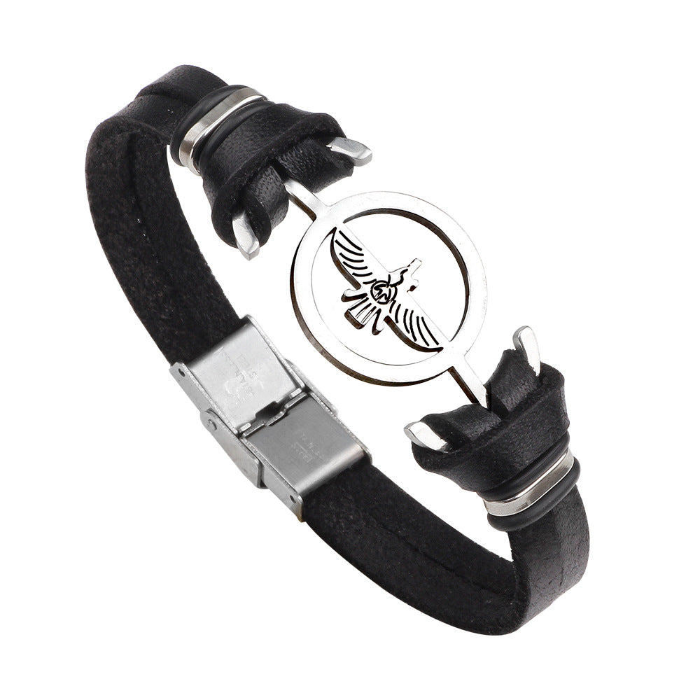 Fashion Stainless Steel Eagle Charm Genuine Leather Bracelet