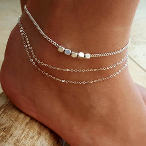 Trendy Sterling Silver Plated  Beads Anklet