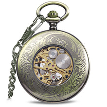 Load image into Gallery viewer, JIJIA JX015 Blue Gem Striped Mechanical Pocket Watch