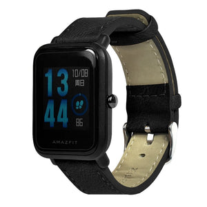 20mm Leather Watch Strap With Spring Bars For Amazfit Bip