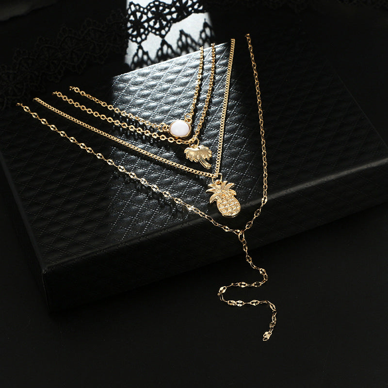 Boehmian Multilayer Gold Necklace Pineapple Coconut Tree