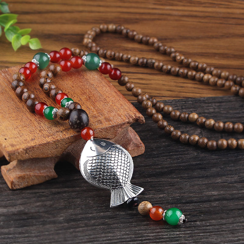 Vintage Multicolor Wood Beads Necklace