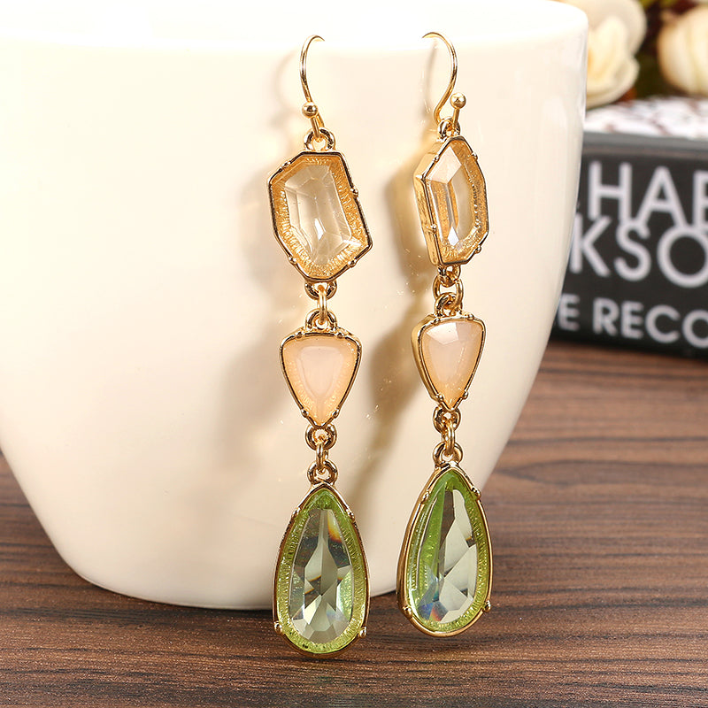 Vintage Bohemian Tassel Ear Drop Long Crystal Earrings