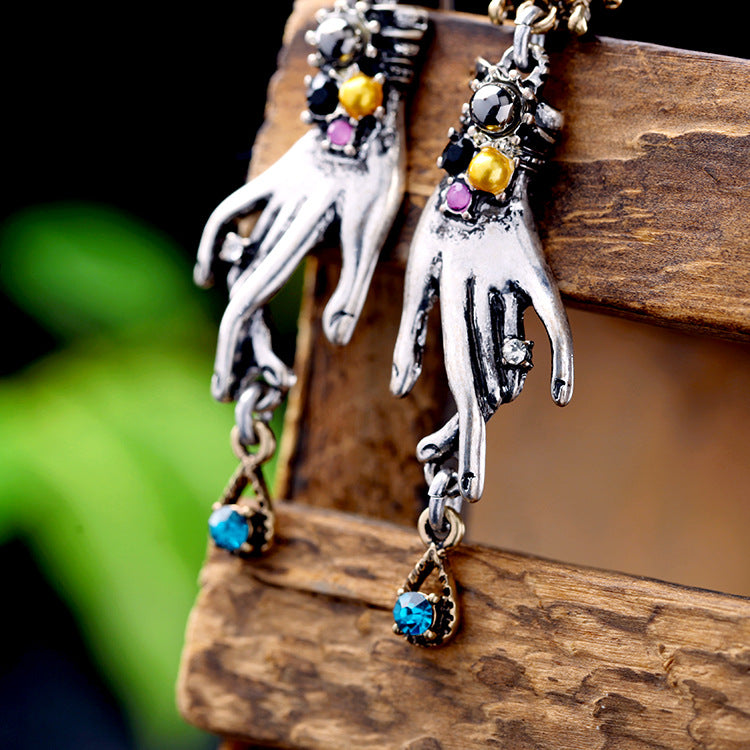 Retro Magic Hands Spider Drop Crystal Silver Dangle Earring