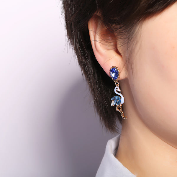 Fashion Asymmetry Blue Pink Flamingo Dangle Earrings Crystal