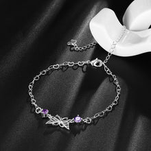 Load image into Gallery viewer, YUEYIN Elegant 925 Silver Plated Purple Rhinestone Butterfly Anklet Bracelet Women Jewelry