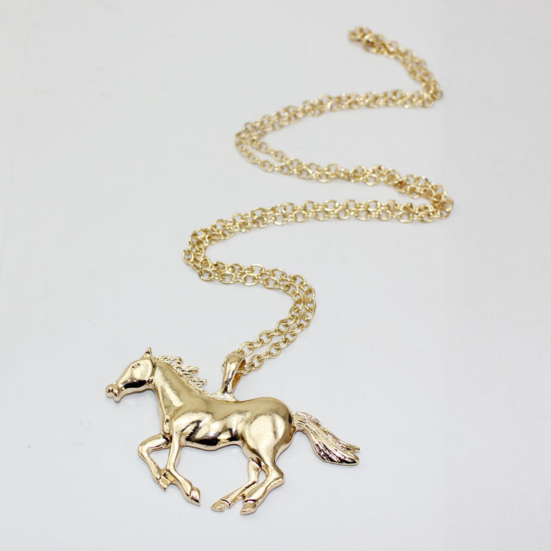 Trendy Silver Gold Color Horse Pendant Necklace Sweater Chain for Women