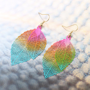 Ethnic Statement Colorful Double Layer Leaf Drop Earring