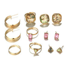 Load image into Gallery viewer, Fashion Style Pink Gemstone Earring Ring Set