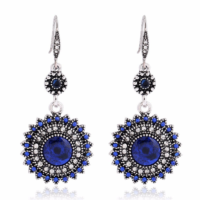 Bohemian Retro Ear Drop Pendant Turquoise Rhinestone Earrings Gift for Women