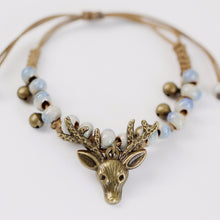 Load image into Gallery viewer, Vintage Deer Small Bell Wax Rope Beaded Charm Bracelet