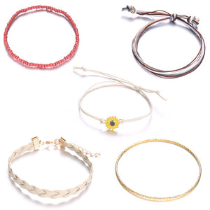 5 Pcs Bohemian Leather Bracelet Set (01)