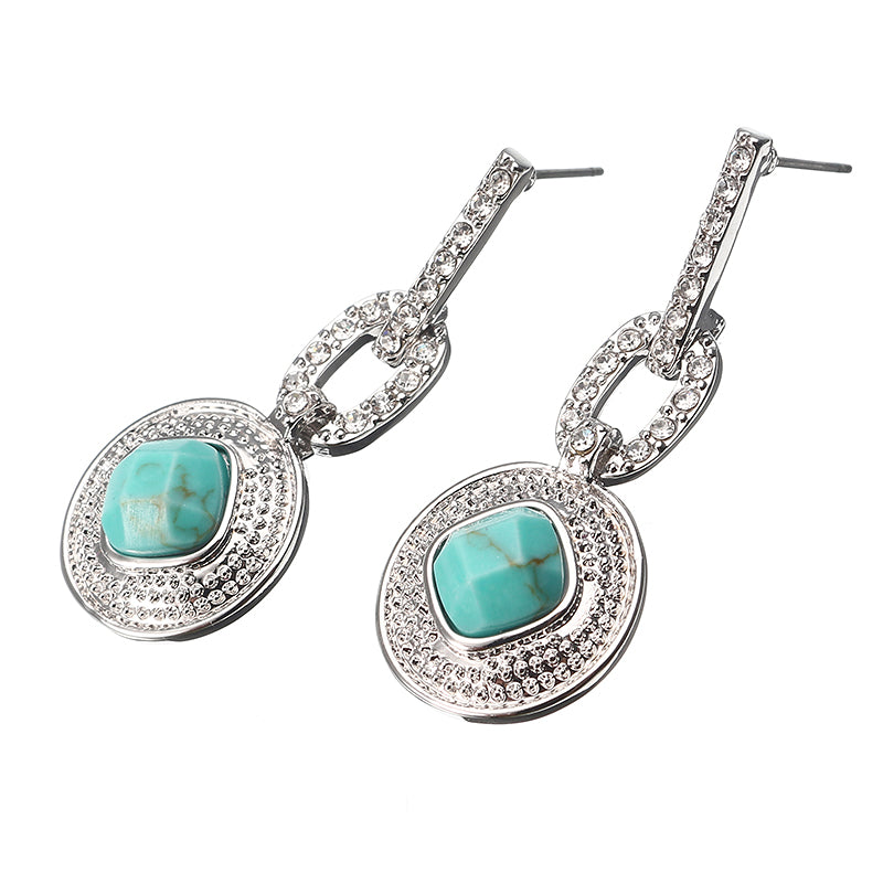 JASSY® Bohemian Turquoise Elegant Ear Drop Platinum Plated Micro Inlay Rhinestone Jewelry for Women