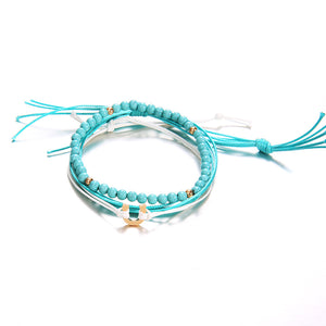 Bohemian Blue Beaded Multilayer Anklets Jewelry For Women (Blue)