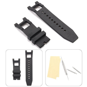 28mm Rubber Black Watch Band With Repair Tool Replace