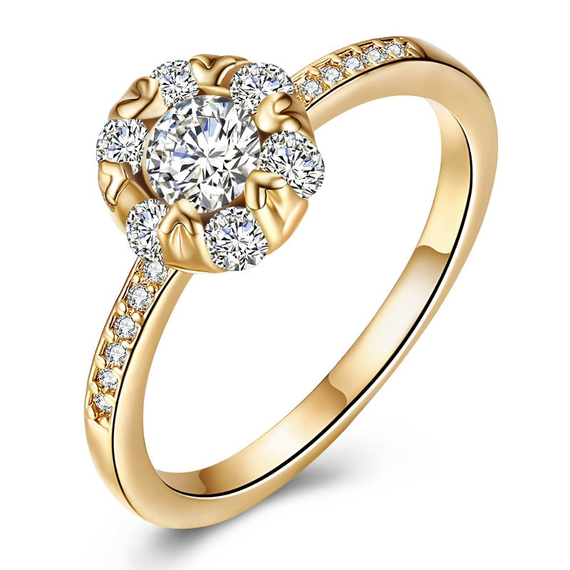 INALIS Copper Gold Plated Women Ring Heart Zircon Engagement