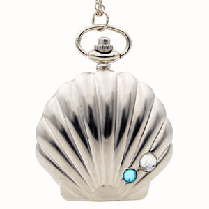 DEFFRUN Shell Shape Diamond Silver Quartz Pocket Watch